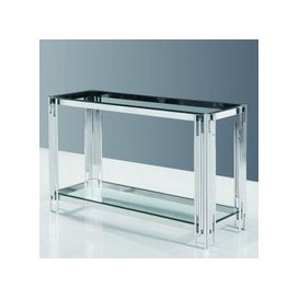 image-Evoke Glass Console Table In Clear With Polished Steel Frame