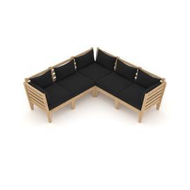 image-Terkel Garden Corner Sofa with Cushions Sol 72 Outdoor Colour (Fabric): Black