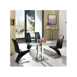 image-Jet Glass Dining Table Small In Clear With 4 Demi Black Chairs