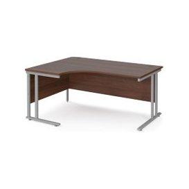 image-Value Line Deluxe C-Leg Left Hand Ergonomic Desk (Silver Legs), 160wx120/80dx73h (cm), Walnut, Free Next Day Delivery