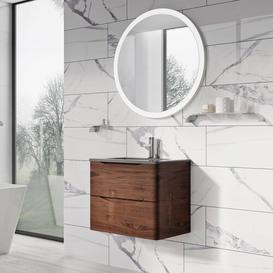 image-Harleigh 600mm Free-Standing Vanity Unit Ebern Designs Base Finish: Dark Brown, Sink Finish: Blue