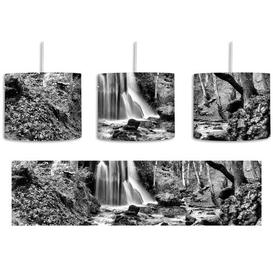 image-Stunning Landscape with Waterfall 1-Light Drum Pendant East Urban Home Shade Colour: Black/White