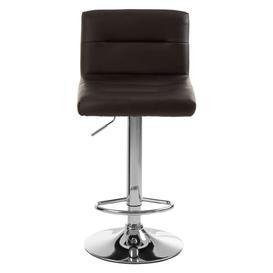 image-Solveig Black Leather Seat Bar Stool With Chrome Base