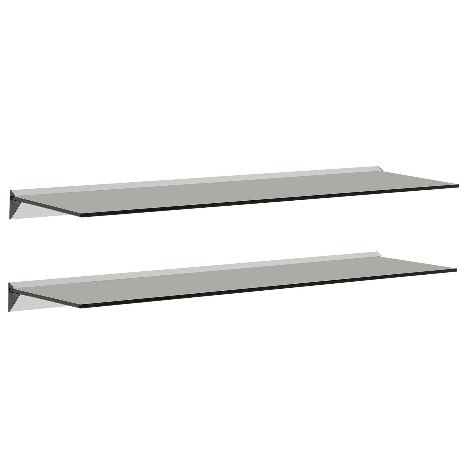image-Hartleys 100cm Black Floating Glass Wall Shelves - Pair