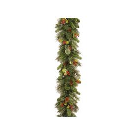 image-Woodbury Pine Christmas Garland with Cones, Red Berries and Snowflakes - 9ft