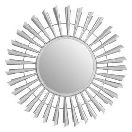 image-Templar Sunburst Effect Silver Finish Mirrored Glass Wall Mirror