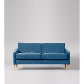 image-Swoon Verano Two-Seater Sofa in Petrolblue Easy Velvet With Light Feet
