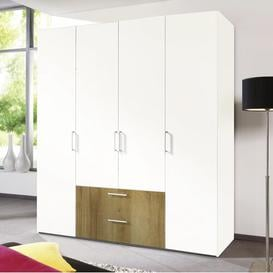 image-Ammiras 6 Door Wardrobe Ebern Designs Finish: White/Riviera Oak