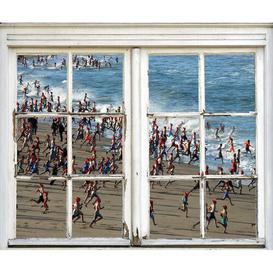 image-Window Crosswise Children on The Beach Wall Sticker Ebern Designs