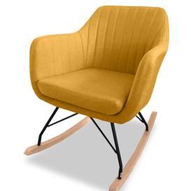 image-Vida Living Katell Mustard Yellow Fabric Rocking Chair