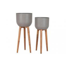 image-Set of 2 Concrete Planters on a Wooden Stand - W.36.5 X H.86cm / W.40 X H.97cm