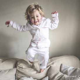image-Piglet Linen Kids Pyjama Set in White