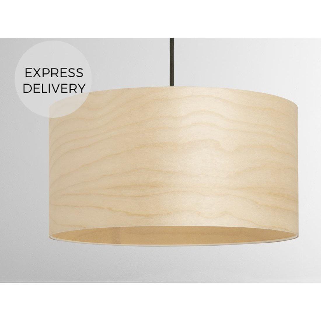 image-Hazel Pendant Drum Lamp Shade Veneer, Natural
