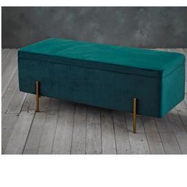 image-Leah Storage Ottoman Teal Velvet Upholstered With Metallic Legs