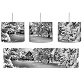 image-Winter Landscape with Huts 1-Light Drum Pendant East Urban Home Shade colour: Black/White