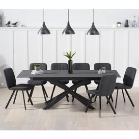 image-Brilly Extending Grey Effect Glass Dining Table 6 Grey Chairs