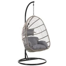 image-Desirae Swing Chair with Stand Freeport Park Colour (Frame): Light Grey, Colour (Cushion): Dark Grey