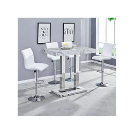 image-Diva Bar Table In Gloss Marble Effect And 4 Ripple White Stools