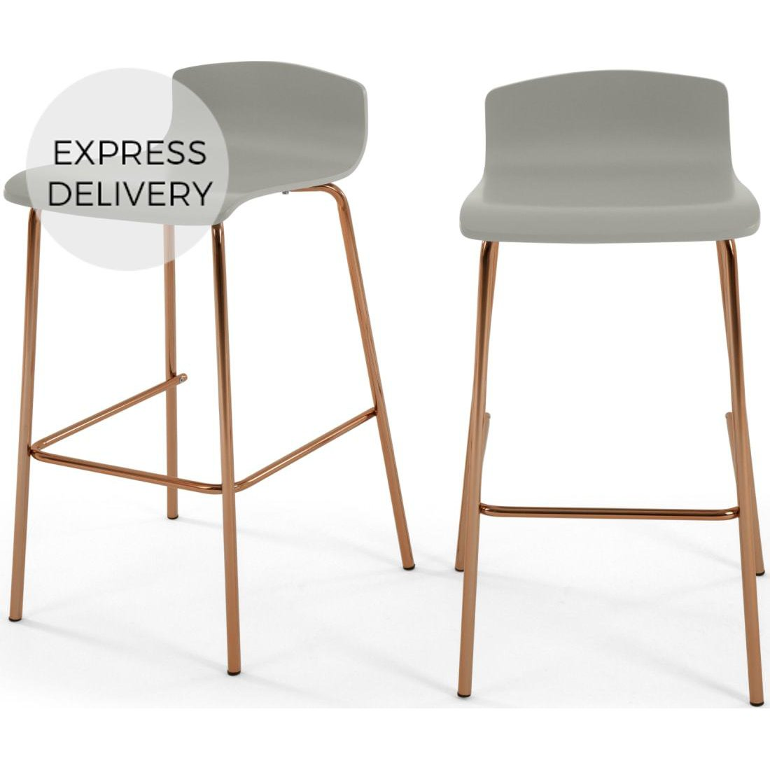 image-Set of 2 Syrus Barstools, Grey and Copper