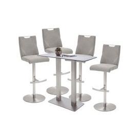 image-Soho Glass Bar Table With 4 Jiulia Ice Grey Fabric Stools