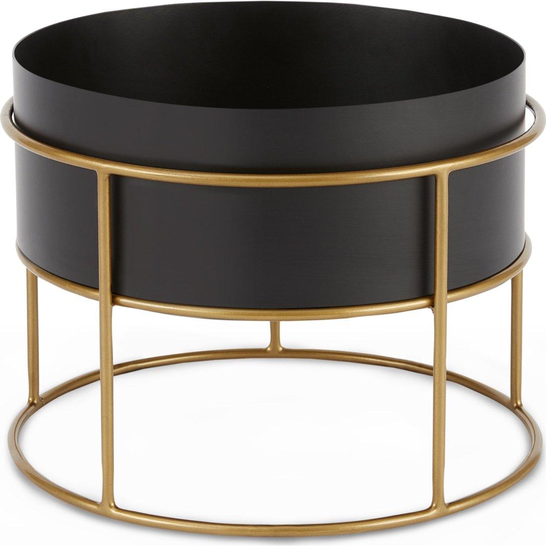 image-Echo Free Standing Round Low Zinc Powdercoated Plant Stand, Black & Metallic Gold