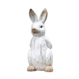 image-Carved Wood Effect Garden Ornament - Rabbit