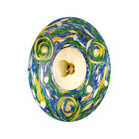 image-Luna 1-Light Flush Mount Kolarz Colour: Blue and green, Size: 42cm H x 42cm W x 18cm D, Frame Colour: Gold