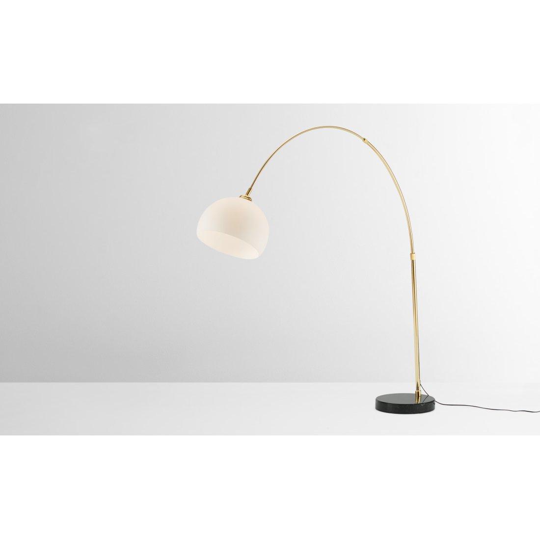 image-Bow Large Overeach Arc Floor Lamp, Brass, Black Marble & Opal Glass