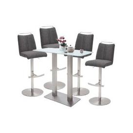 image-Soho White Glass Bar Table With 4 Giulia Fabric Anthracite Stool