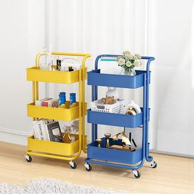 image-Metal Storage Trolley 3-Tier Rolling Cart Multi Purpose Trolley Organizer Cart With Casters And Handles Utility Cart Organizer Trolley On Wheels For K