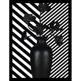 image-'Vase With Black Flowers: Stripes' Framed Graphic Art Mercury Row Size: 52 cm H x 42 cm W