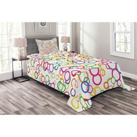 image-Funches Rainbow Bedspread Set with Cushion Cover Ebern Designs Size: W175 x L220cm