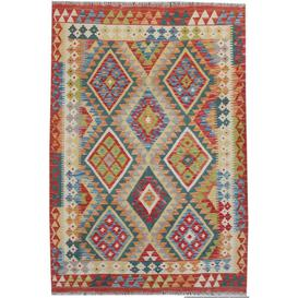 image-Curson Traditional Handmade Kilim Wool Red/Blue/Orange Rug Bloomsbury Market