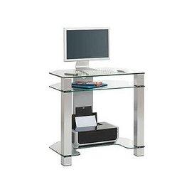 image-Java Glass Computer Desk - Grey