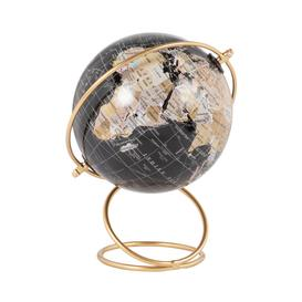 image-Black World Map Globe with Gold Metal Stand