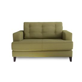 image-Heal's Mistral Loveseat Boucle Wool Olive Black Feet