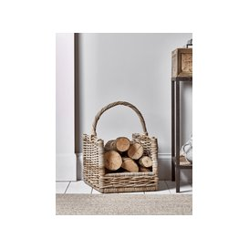 image-Round Rattan Log Basket - Rectangular