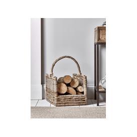 image-Round Rattan Log Basket - Rectangular