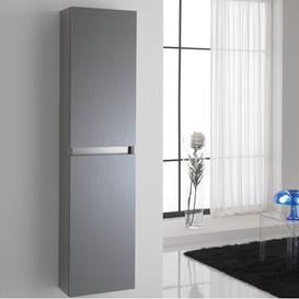 image-Dierks 35 x 160cm Wall Mounted Tall Bathroom Cabinet Ebern Designs Finish: Platinum
