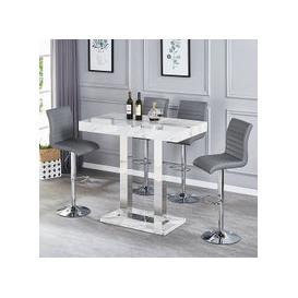 image-Magnesia Grey Marble Effect Bar Table And 4 Ripple Grey Stools