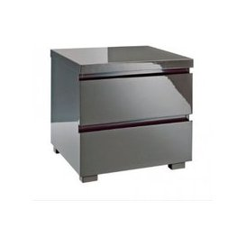 image-Curio Bedside Cabinet In Charcoal High Gloss With 2 Drawers