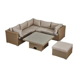 image-Arencibia 6 Seater Rattan Effect Corner Sofa Set Sol 72 Outdoor Colour: Willow/Cream