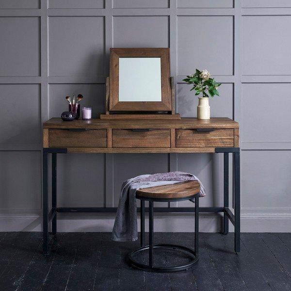 image-Solid Acacia and Metal Dressing Tables - Dressing Table Stool - Detroit Range - Oak Furnitureland
