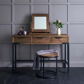 image-Solid Hardwood and Metal Dressing Tables - Dressing Table Stool - Detroit Range - Oak Furnitureland