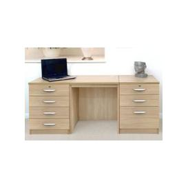 image-Small Office Desk Set With 4+3 Drawers (Sandstone)