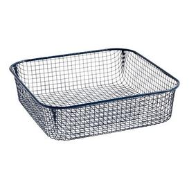 image-Trinkets Basket - / Square - Wire mesh by Hay Dark blue