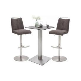 image-Soho Glass Bar Table With 2 Giulia Brown Fabric Stools