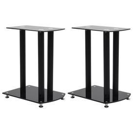 image-Center Channel Speaker Stand Ebern Designs Finish: Black, Glass Colour: Black