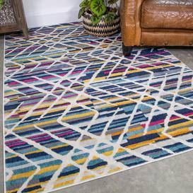 image-Colourful Geometric Strokes Pattern Rug - Oscar