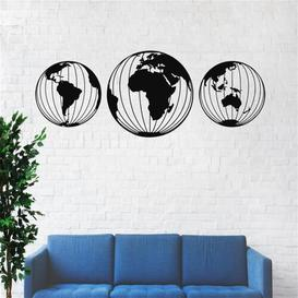 image-Metal World Map Globes Wall Décor Ebern Designs